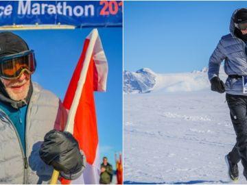 Roy Jorgen Svenningsen, en acción en el Maratón de Hielo de la Antartida