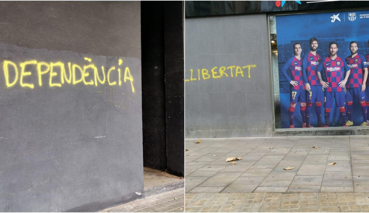 Pintadas a favor de la independencia en los exteriores del Camp Nou