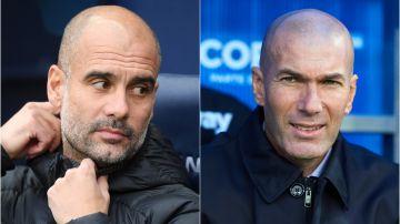 Guardiola y Zidane durante un partido de sus respectivos equipos