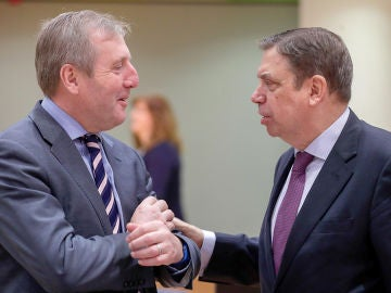 El ministro irlandés de Agricultura, Alimentación y Marina, Michael Creed y Lluis Planas