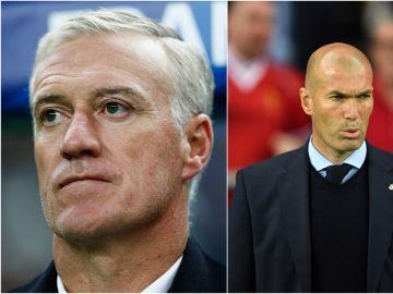Deschamps y Zinedine Zidane durante un partido