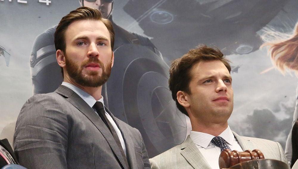 Chris Evans (Capitán América) y Sebastian Stan (Soldado de invierno)