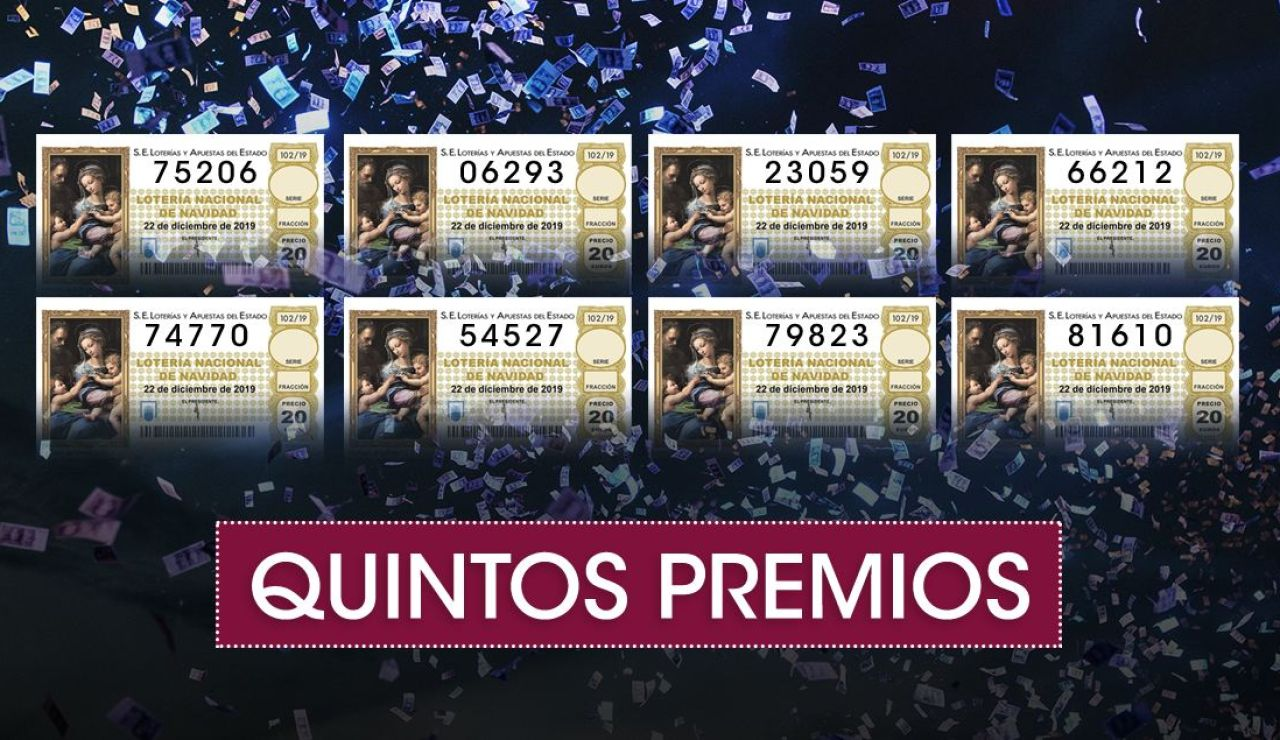 Lotería Navidad 2019: Quintos premios del Sorteo Extraordinario de Navidad de la Lotería Nacional