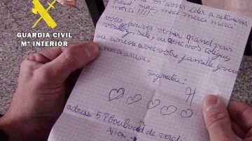 La carta de un niño a la Guardia Civil tras salvarle