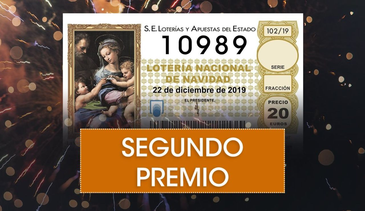 Lotería de Navidad 2019: 10989, segundo premio de la Lotería de Navidad