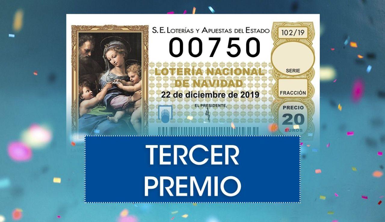 Lotería de navidad 2019: 00750, tercer premio del sorteo extraordinario de Navidad de la Lotería Nacional