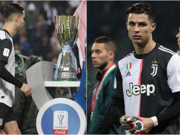 Cristiano Ronaldo, tras recibir la medalla de subcampeón de la Supercopa de Italia