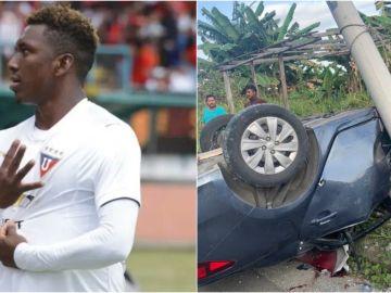 Imagen del futbolista Edison Realpe y de su coche accidentado