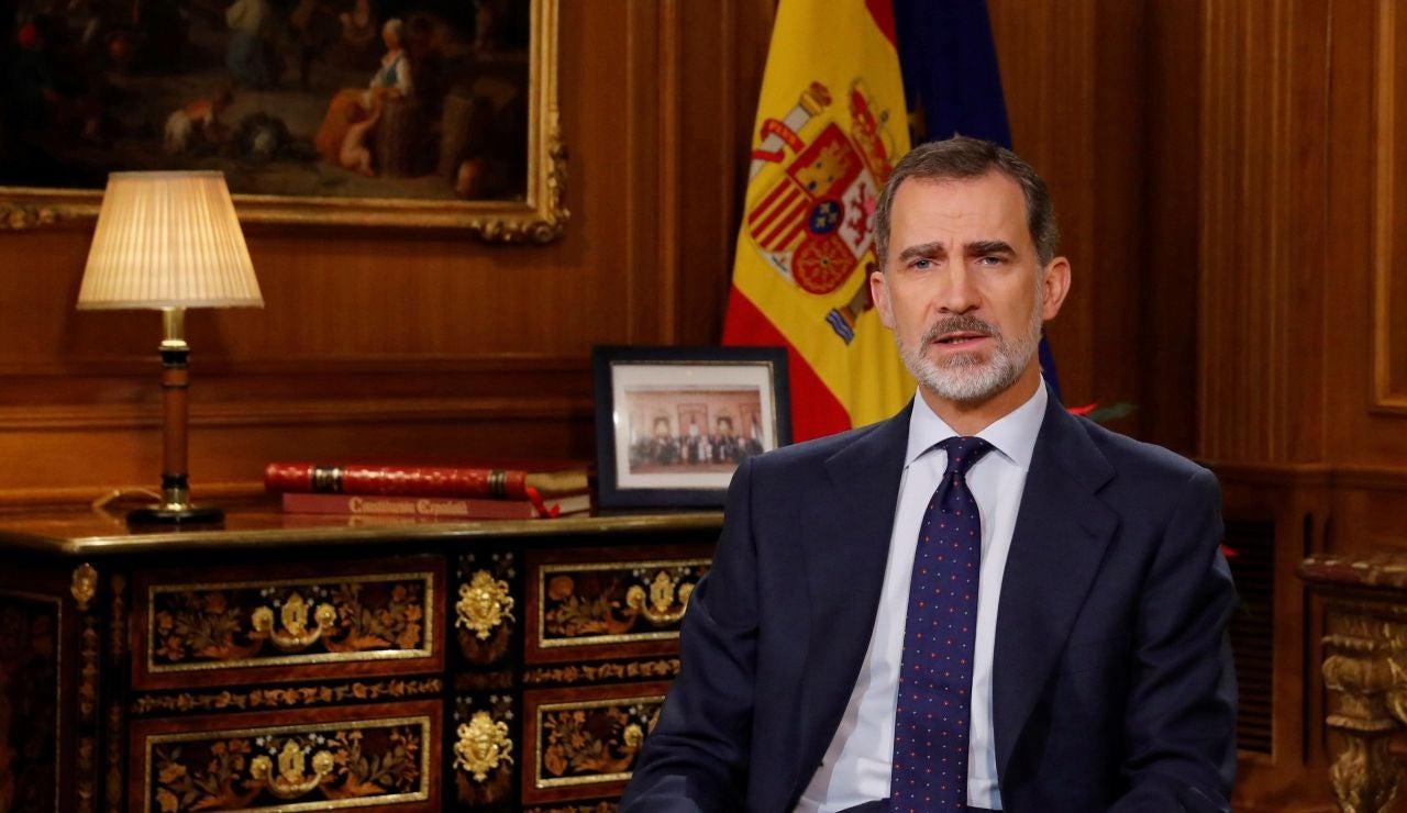 El Rey Felipe VI durante el discurso de Nochebuena del 2019