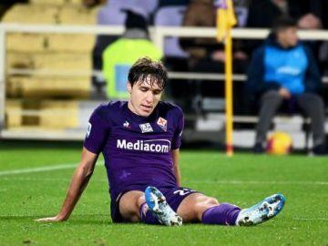 Jugadores de la Fiorentina tras el partido ante la Roma