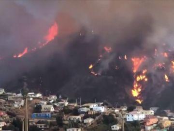 Un incendio forestal arrasa decenas de viviendas en Chile