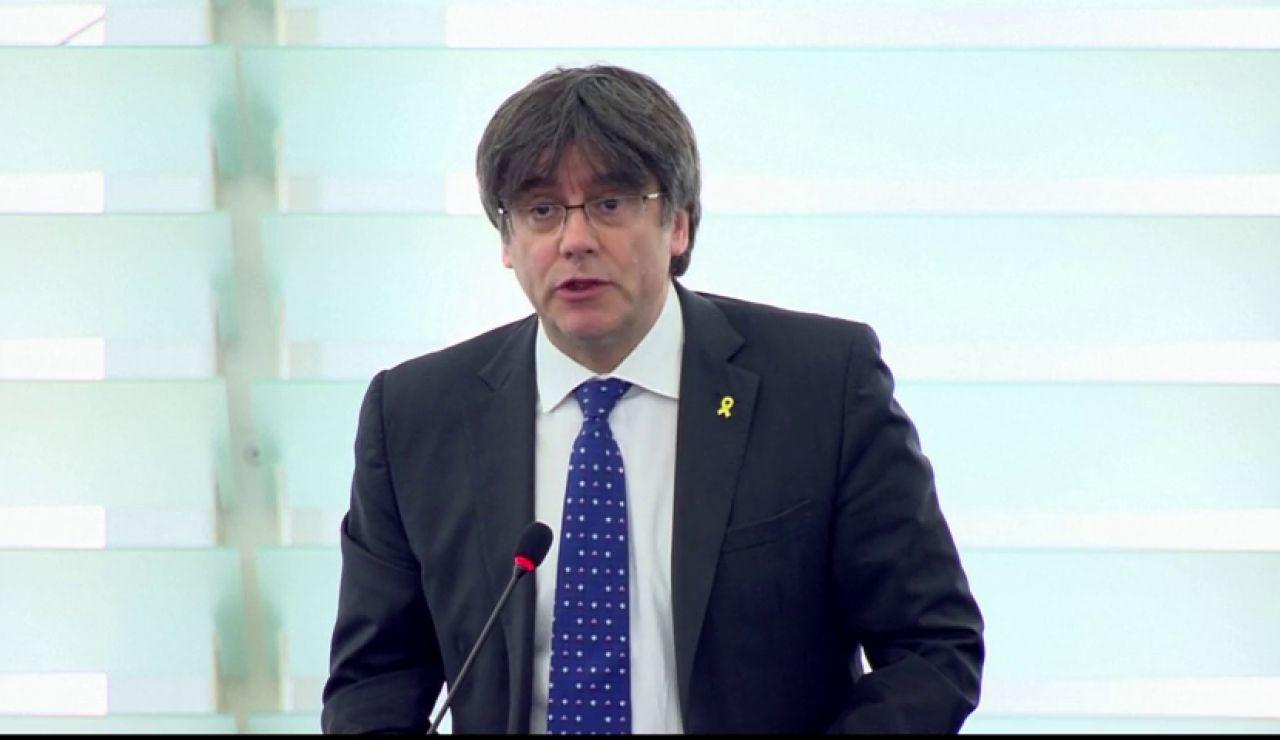 """Puigdemont pide en su primera intervención como eurodiputado una """"solución política"""" a la crisis en Cataluña"""
