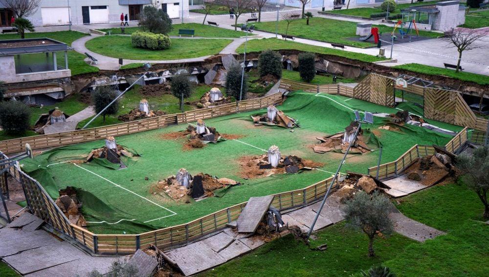 Hundimiento de un parque en Santander
