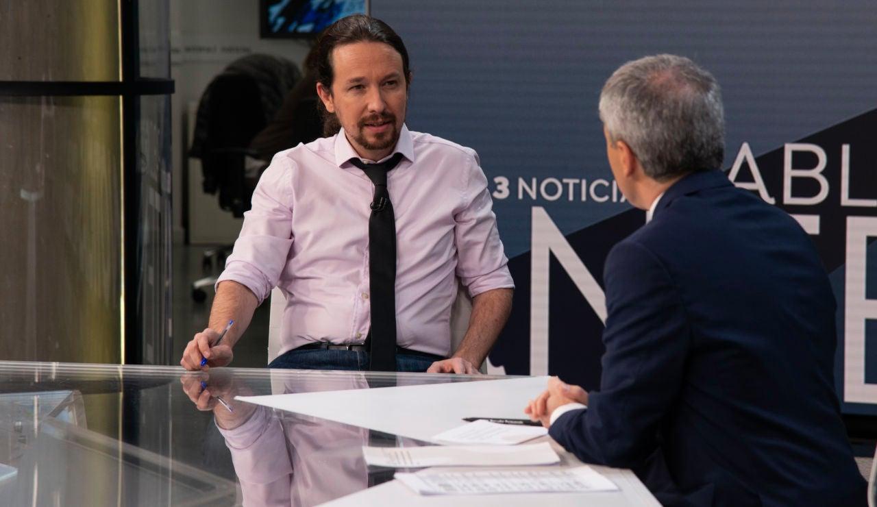 Pablo Iglesias en Antena 3 Noticias entrevistador por Vicente Vallés