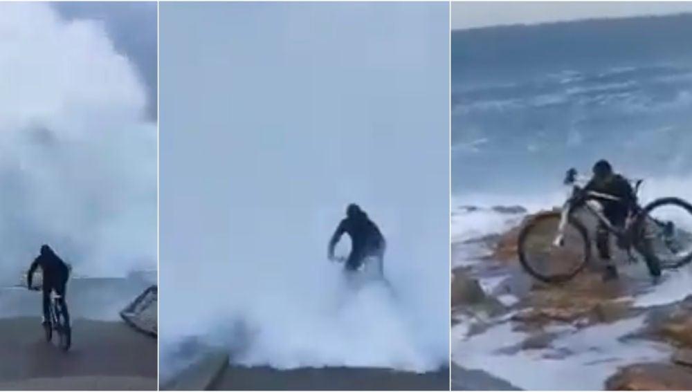 Secuencia de la imprudencia de un ciclista en Punta Herminia (A Coruña)