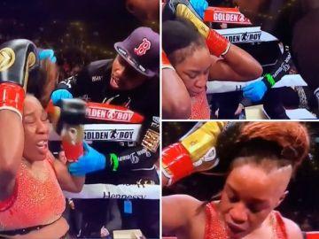 Franchon Crews Dezurn perdiendo la peluca durante una pelea