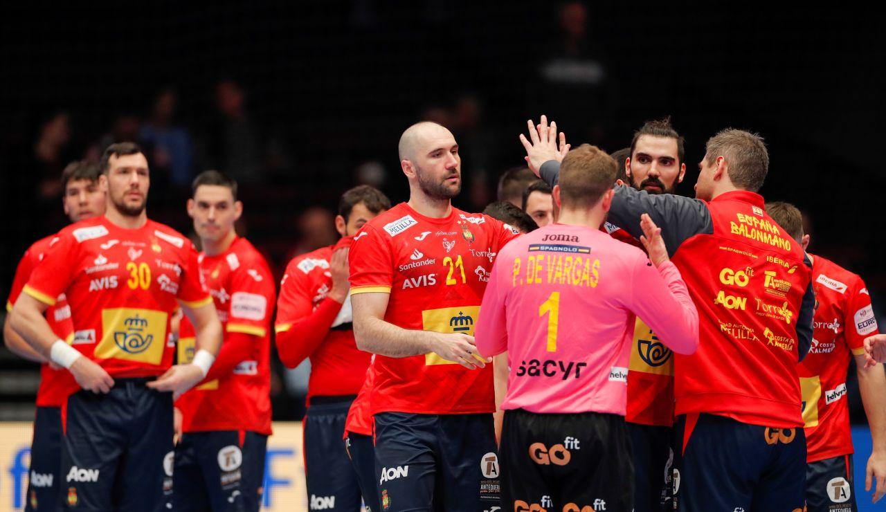 Los jugadores españoles celebran la victoria ante la República Checa