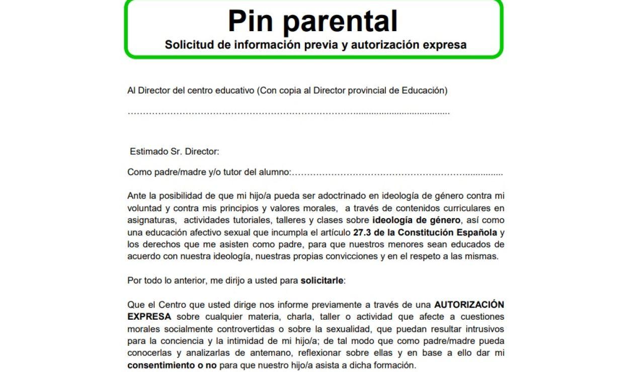 Fragmento del formulario de 'pin parental' colgado por Vox en su web