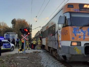 Un tren choca contra una barra hormigón entre Tordera y Maçanet, sin heridos