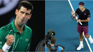 Novak Djokovic y Roger Federer, en sus estrenos en el Open de Australia 2020