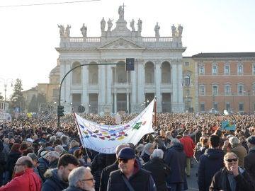 Manifestación de 'Las sardinas' contra Salvini