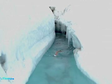 Atraviesa un glaciar a nado