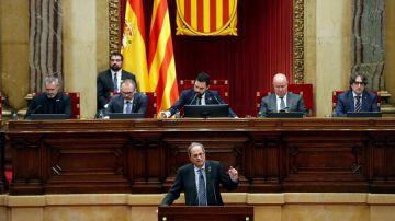 El presidente de la Generalitat, Quim Torra, junto a Roger Torrent