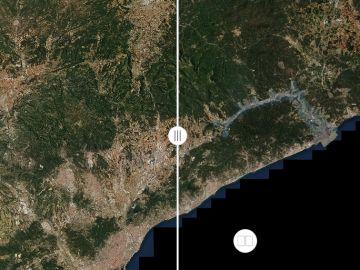El antes y el después del Delta del Ebro tras el paso de la borrasca Gloria