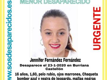 La joven de 16 años desaparecida en Burriana
