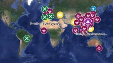 Mapa de personas contagiadas por el coronavirus