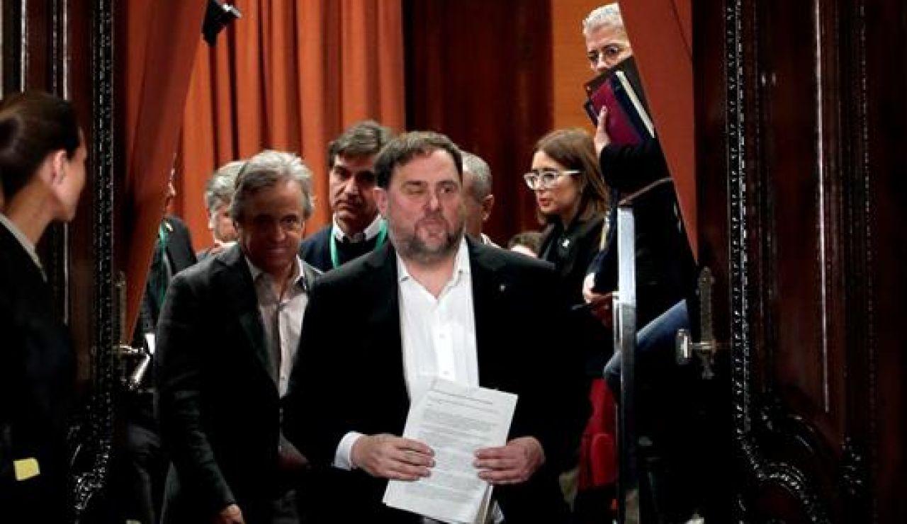 Oriol Junqueras en su regreso al Parlament