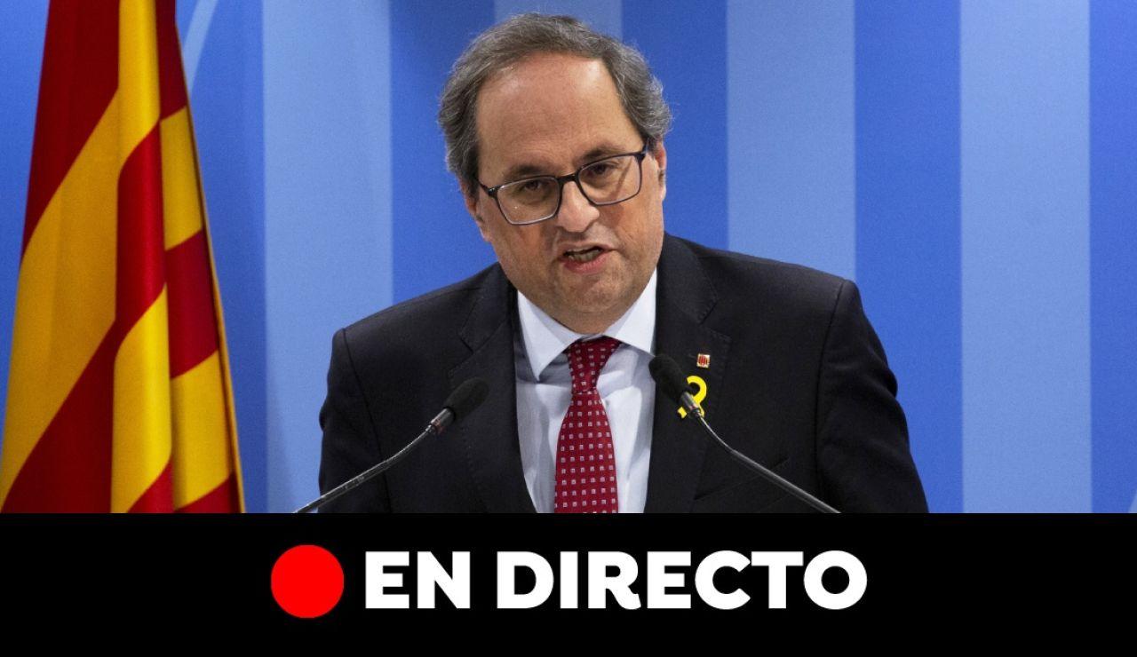 Comparecencia de Quim Torra, en directo | Última hora de Cataluña hoy