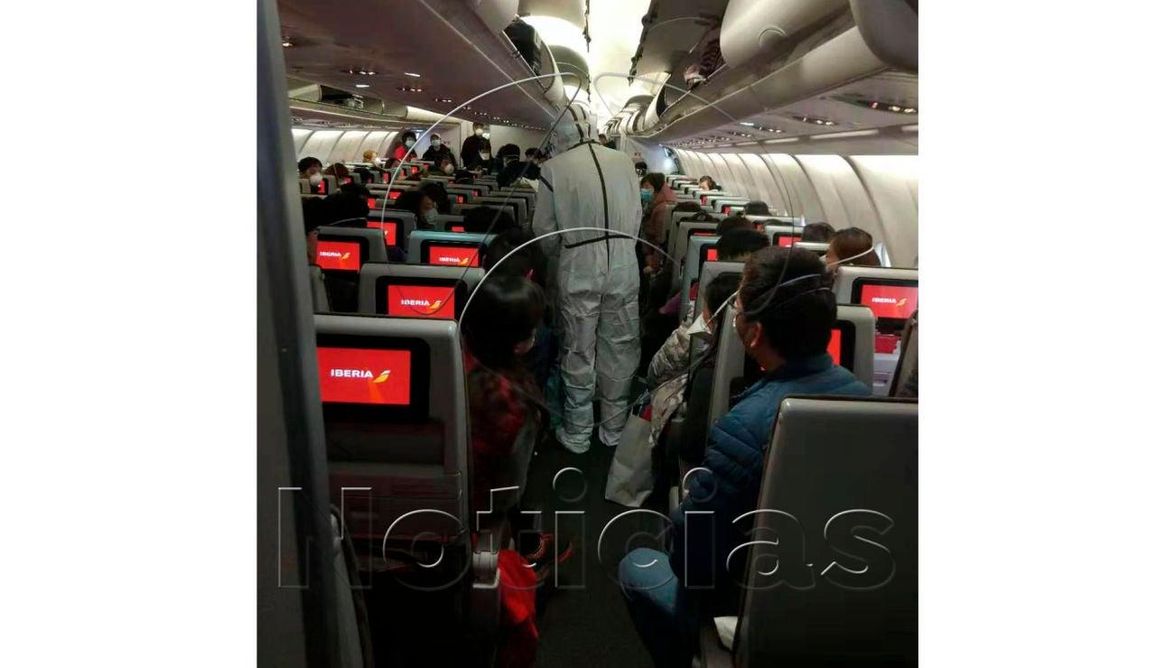 Un avión de Iberia a su llegada a China
