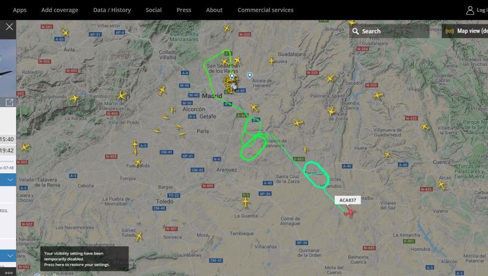 Recorrido del avión de Air Canada que no puede aterrizar en Madrid
