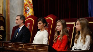 La Familia Real durante la apertura de las Cortes