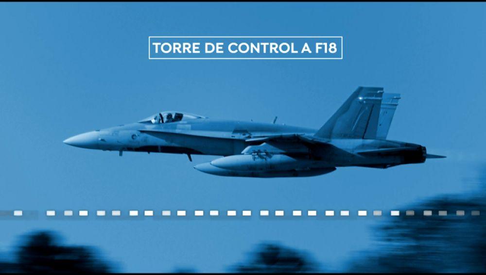 Conversación entre el piloto del F-18 y la torre de control durante la inspección del avión de Air Canada