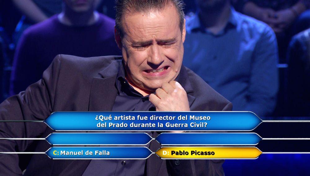 El arte deja a Enrique Chicote al borde del abismo antes de asegurar los 1.500 euros en '¿Quién quiere ser millonario?'