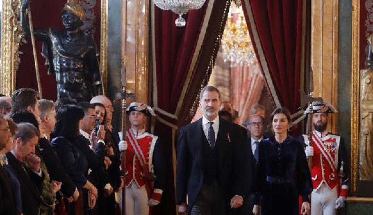 Los Reyes Felipe y Letizia en la recepción del cuerpo diplomático