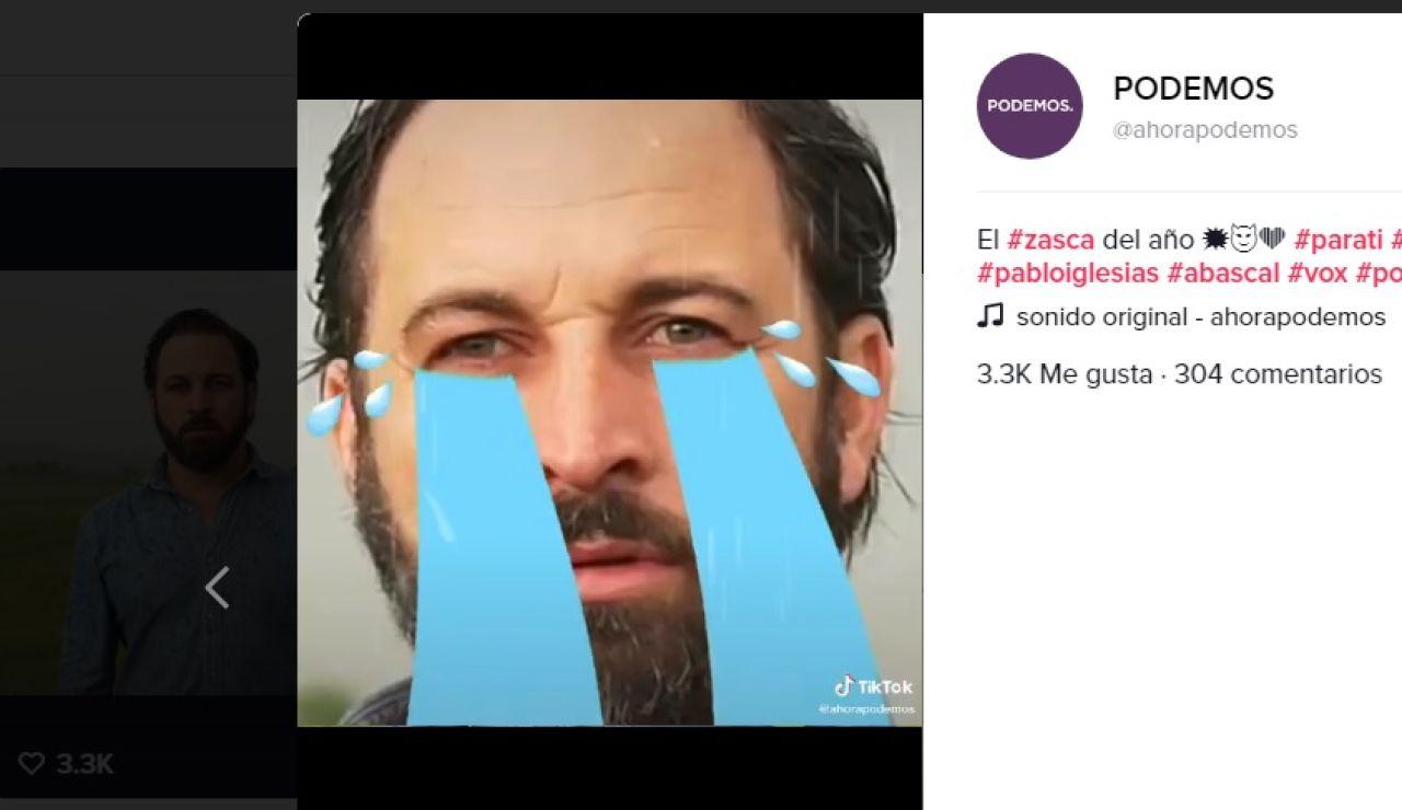 Un vídeo de la cuenta de TikTok de Podemos