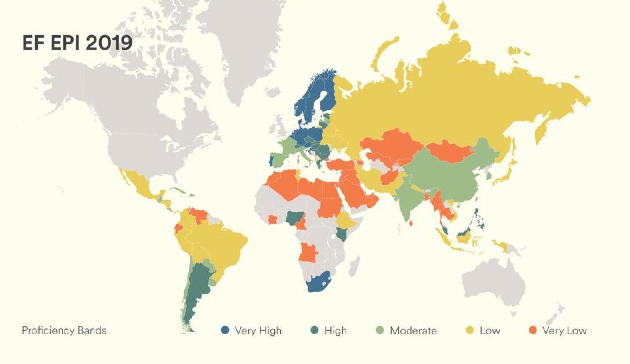 Mapa del nivel de inglés en el mundo
