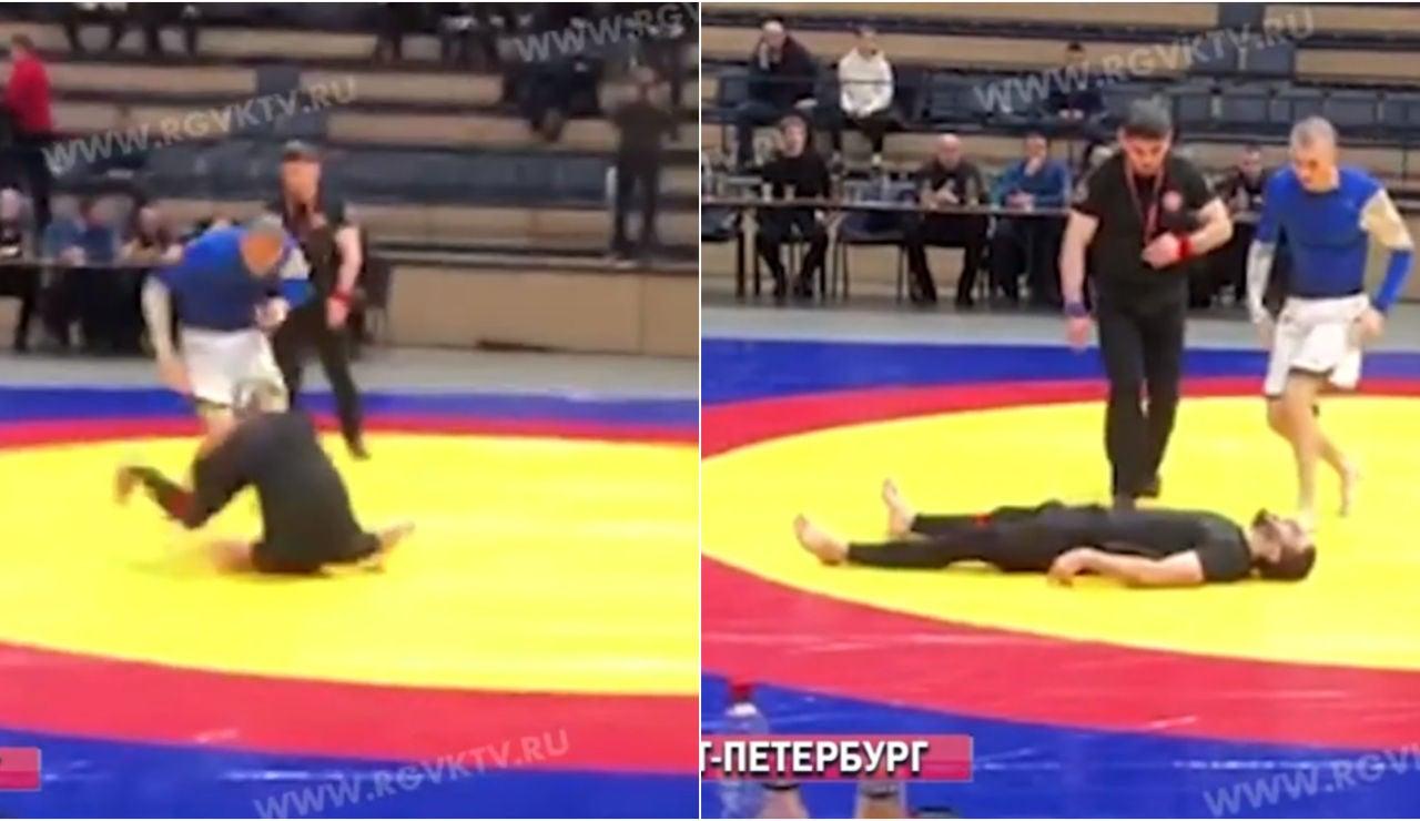 El momento de la grave lesión de Aliev Payzutdin