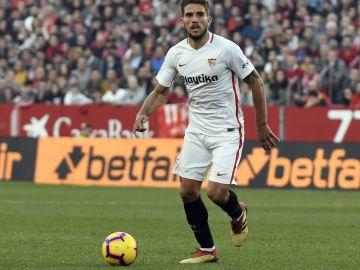 Carriço, en un partido del Sevilla F.C.