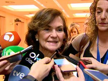 """Carmen Calvo: """"Entendemos la cancelación del Mobile por coronavirus pero no hay una alarma para ello"""""""