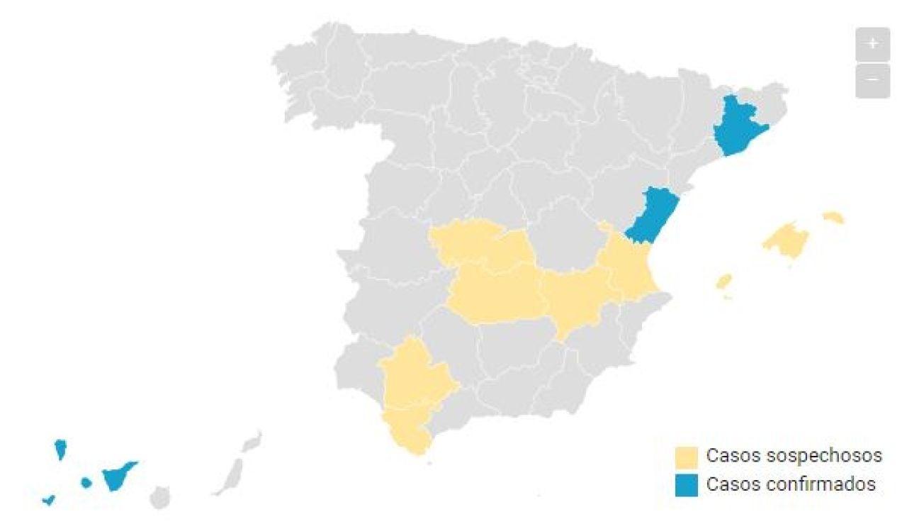 Mapa coronavirus martes 22:00h