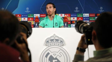Sergio Ramos en la rueda de prensa previa al Real Madrid - Manchester City