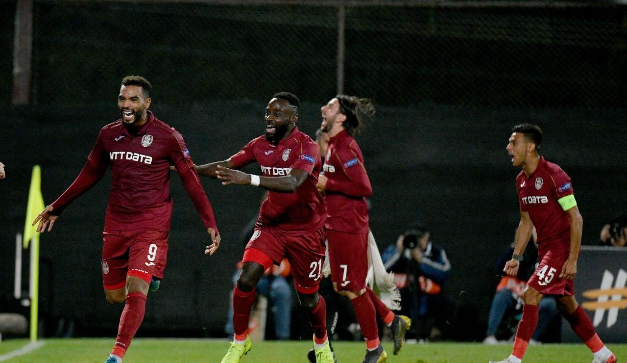 El CFR Cluj celebrando un gol