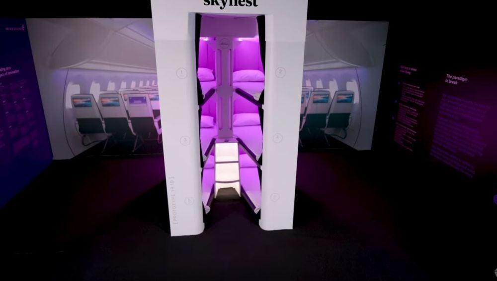 Primer prototipo de literas en vuelos de larga distancia en clase turista de Air New Zealand