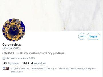 Cuenta de Twitter del coronavirus