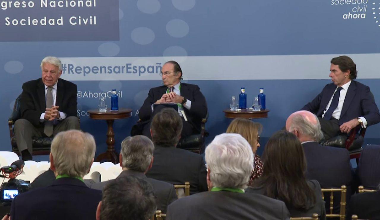 """Para Felipe González """"la fiesta se acabó en 2015"""" y Aznar denuncia que """"han roto el pacto del 78"""""""
