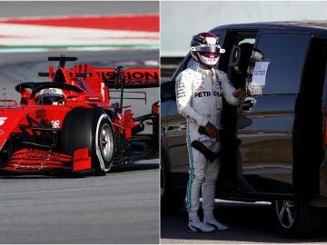 Sebastian Vettel y Lewis Hamilton, cara y cruz en los test de Montmeló